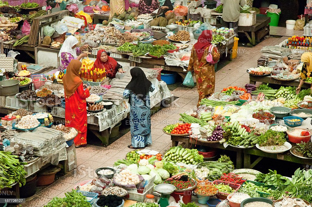 Colourful Indoor Market In Kota Baharu, Malaysia stock photo