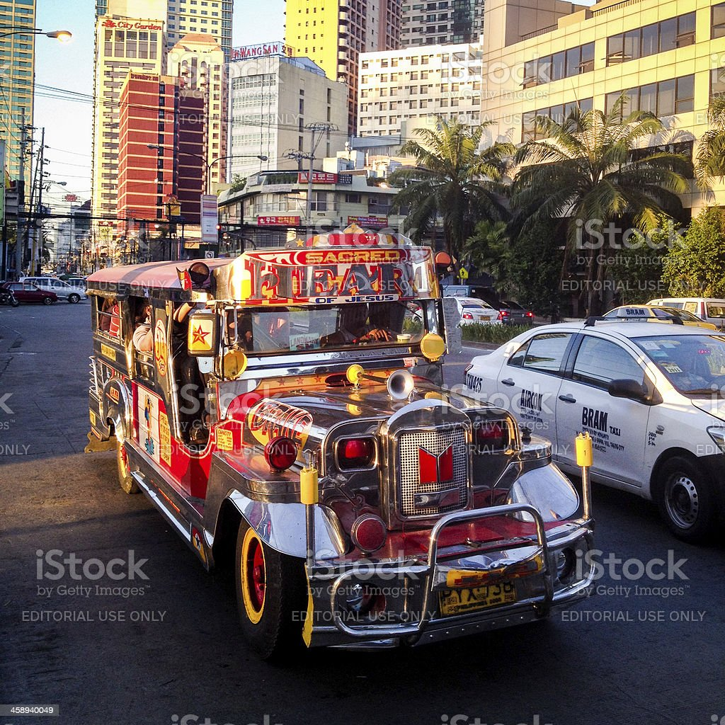Colourful Jeepney vehicle in Makati City, Philippines royalty-free stock photo