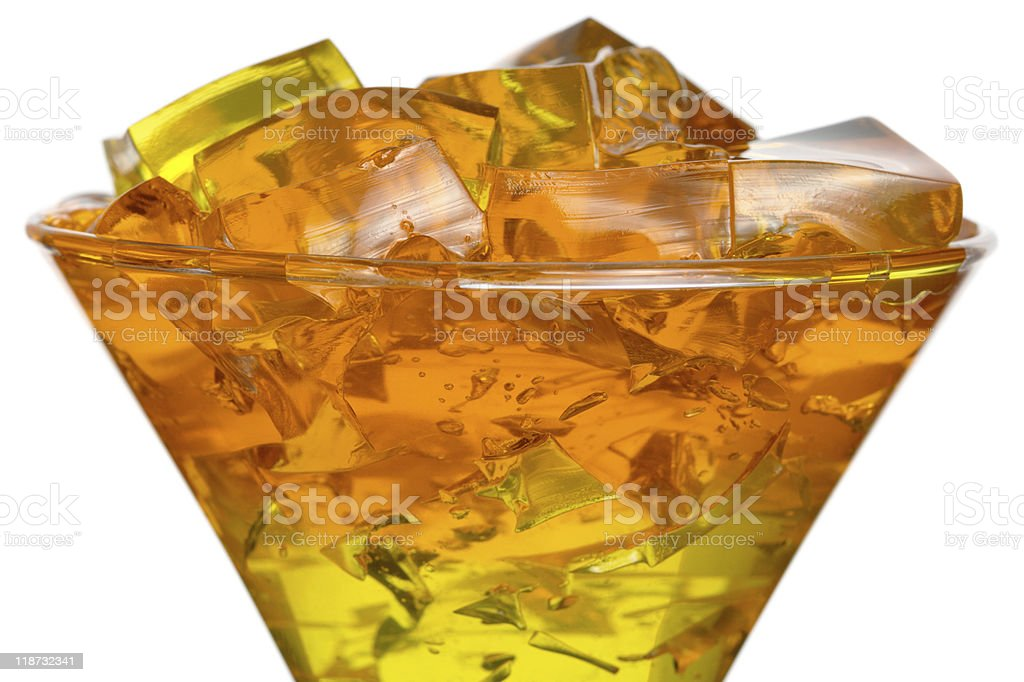 Colourful jelly in glass stock photo