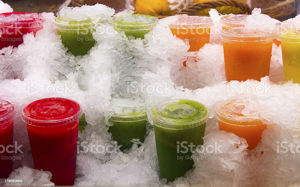 Colourful Juice covered in ice royalty-free stock photo