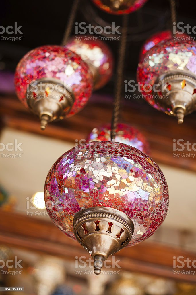 Colourful Lamps In Istanbul Bazaar stock photo
