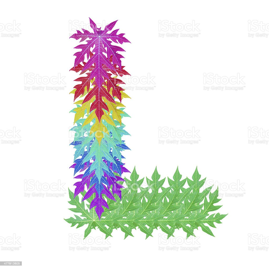 Colourful leaf L alphabet character. royalty-free stock photo
