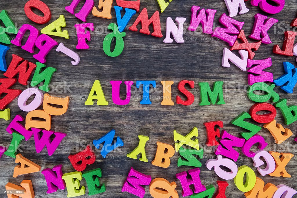 Colourful letters spelling out Autism stock photo