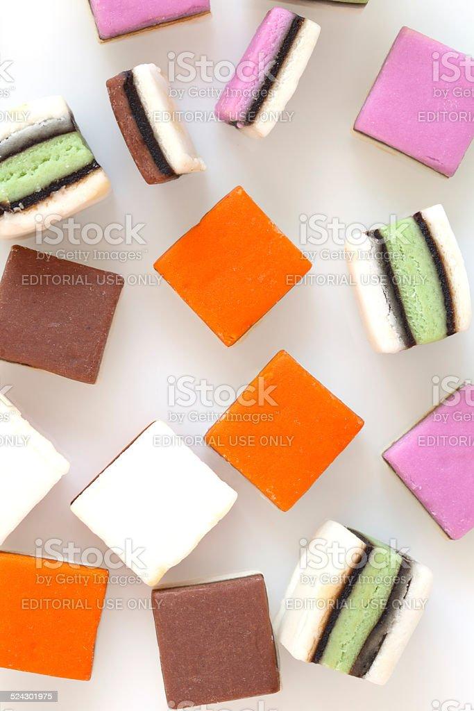 Colourful liquorice Candy on White stock photo