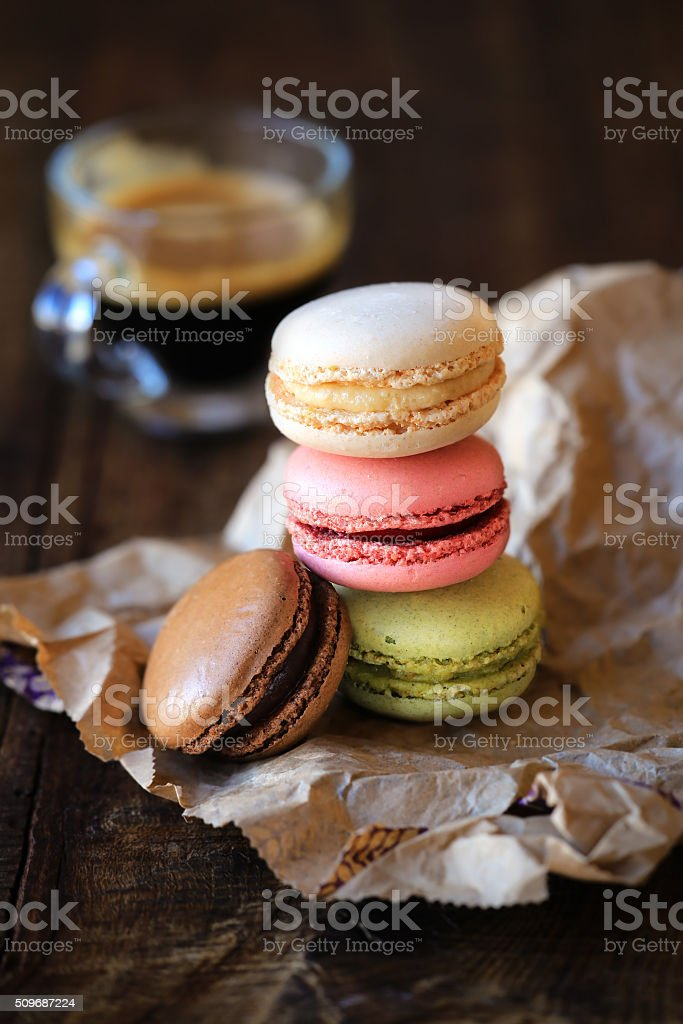 Colourful macaroons stock photo