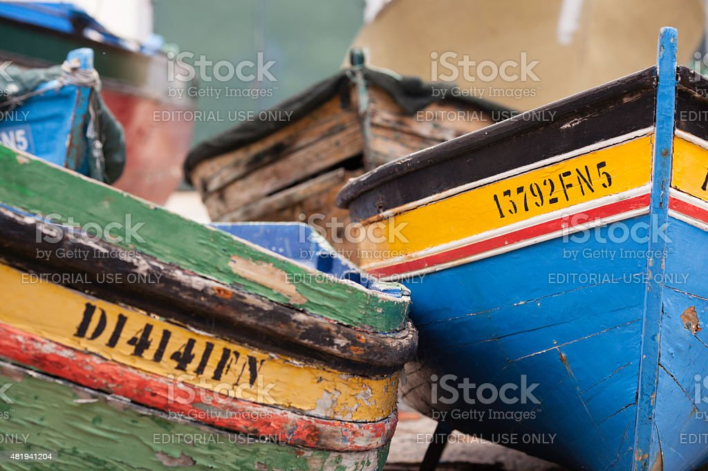 Colourful Madeiran fishing boat tenders stock photo