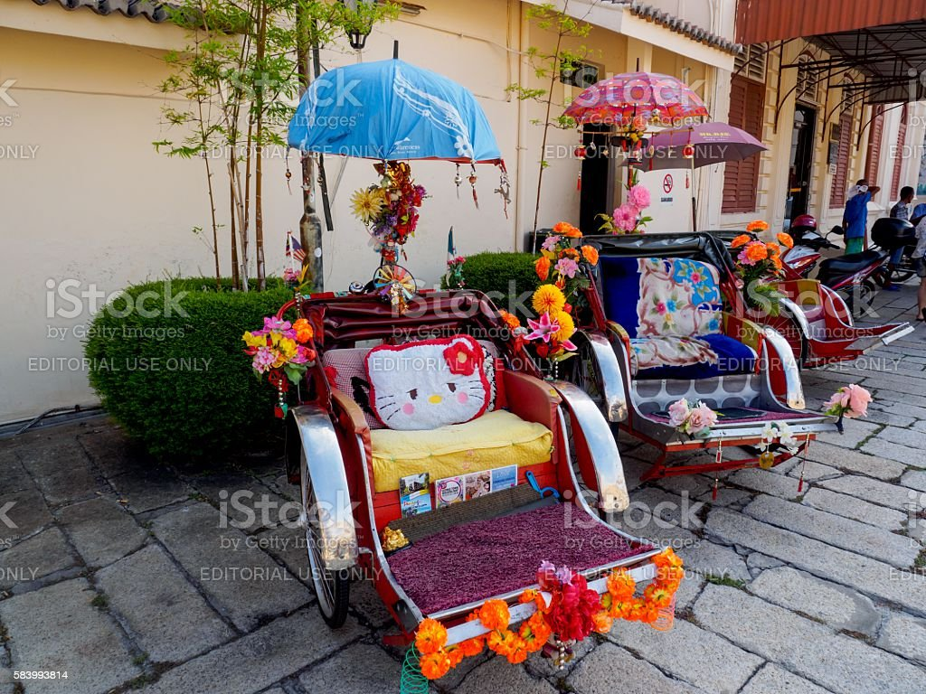 Colourful Malaysian trishaws stock photo