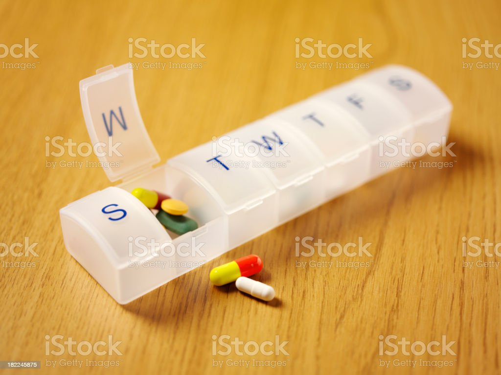 Colourful Medical Tablets and Pill Box stock photo