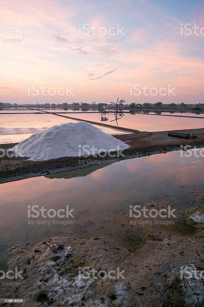 Colourful morning sunrise with beautiful cloud formation in salt stock photo