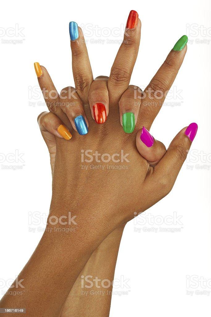 colourful nail varnish stock photo