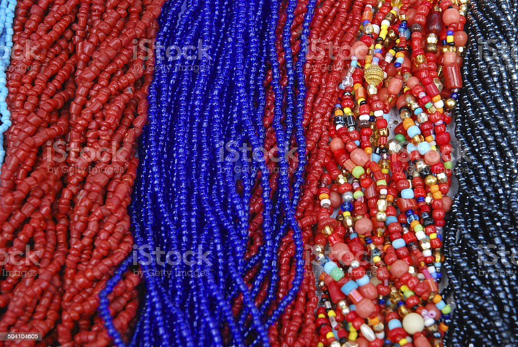 Colourful necklaces of Multi-strands of beads stock photo