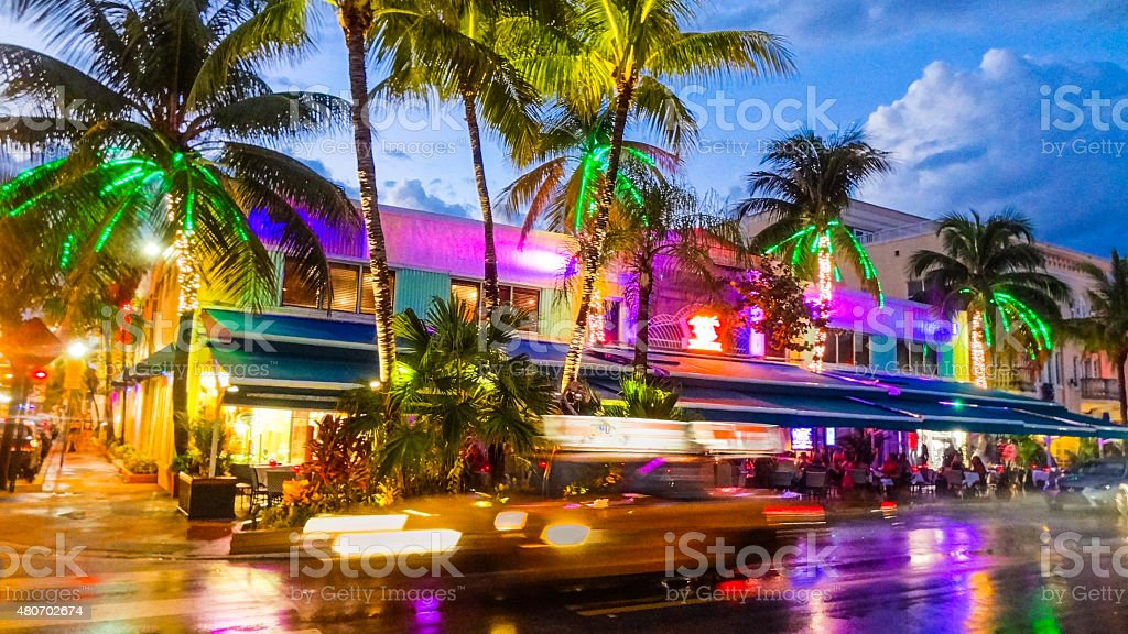 Colourful nightlife of Miami Beach stock photo