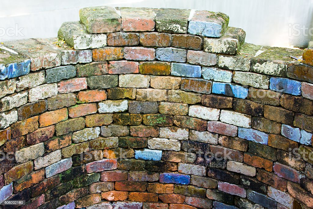 Colourful old brick wall stock photo
