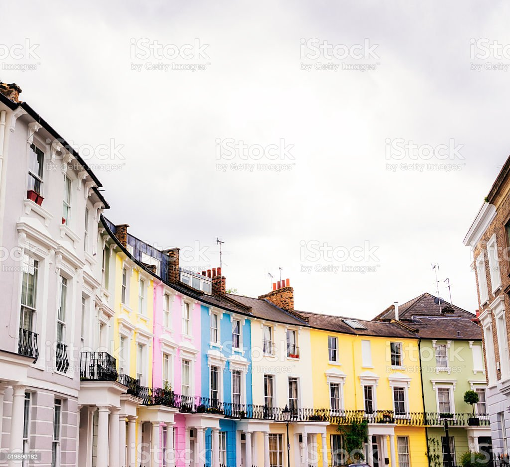 Colourful painted houses on a London street stock photo