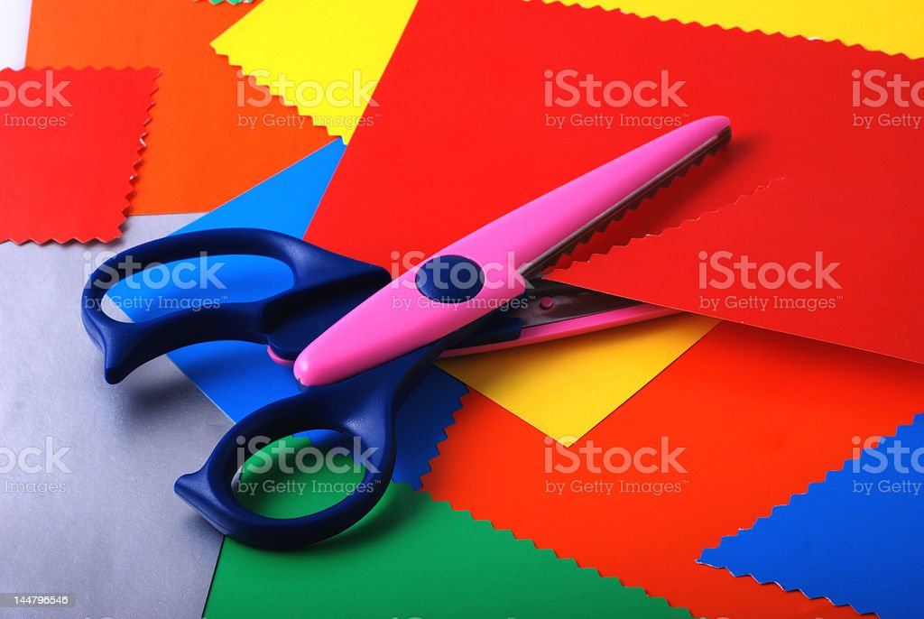 colourful paper and scissors royalty-free stock photo