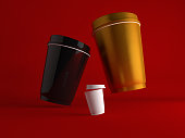 Colourful Paper Coffe Cup flying over red background.