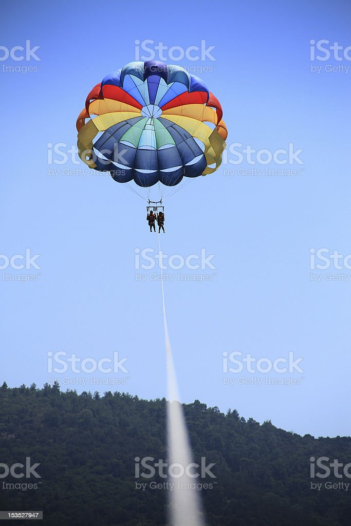Colourful Parasailing stock photo