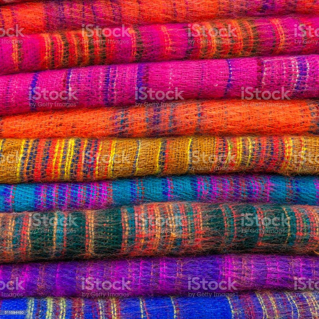 Colourful pashmina shawls for sale in Kathmandu, Nepal stock photo