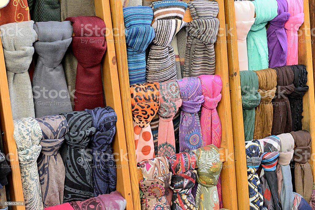 Colourful pashmina shawls stock photo