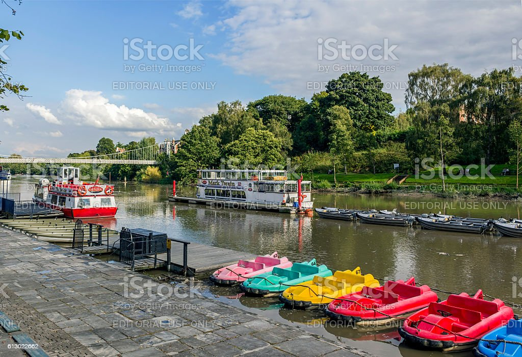 Colourful Pedal Boats River Dee Chester stock photo