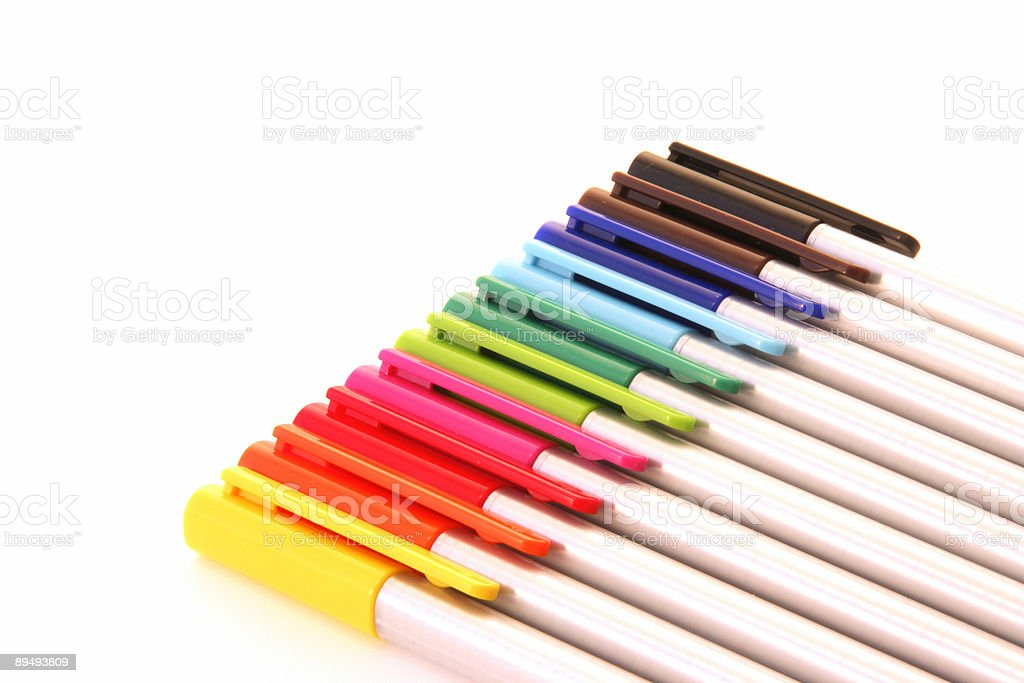 colourful pens in a row stock photo