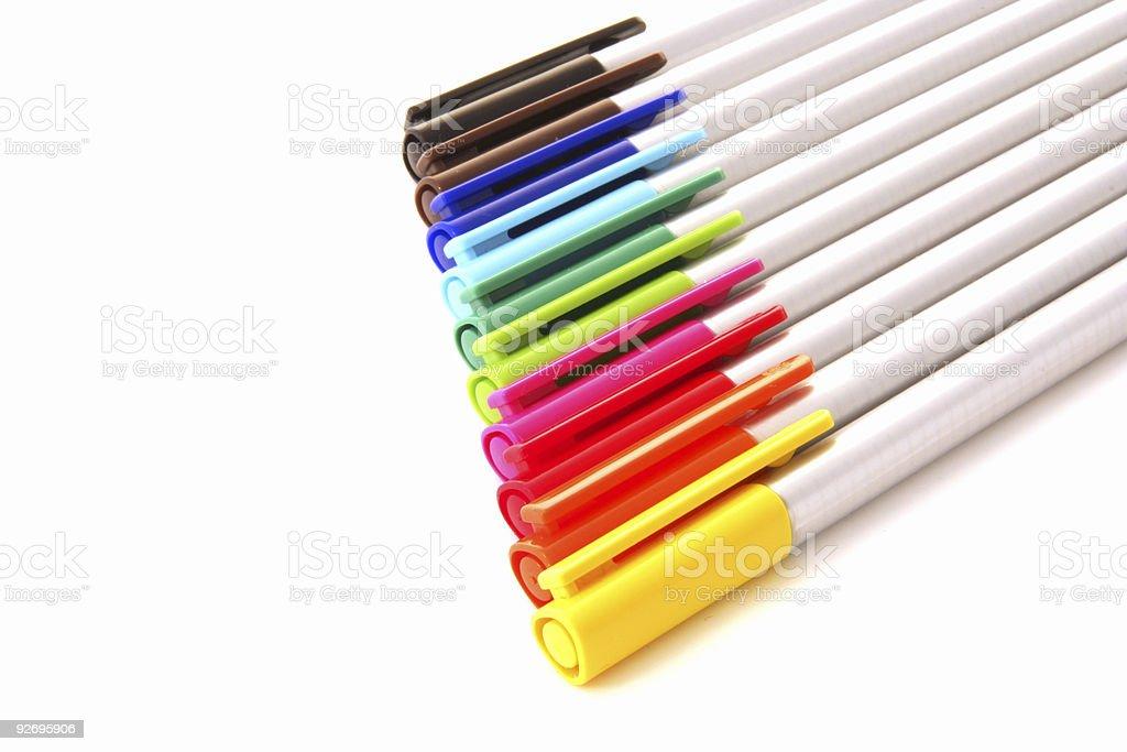 colourful pens stock photo