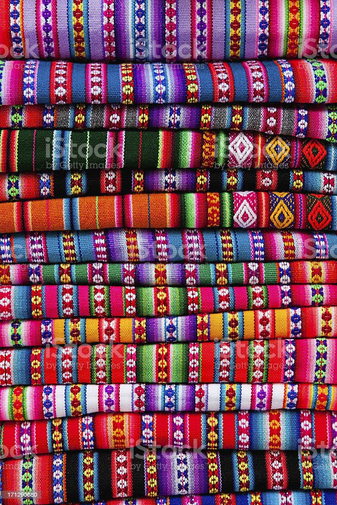 Colourful Peruvian fabrics stock photo