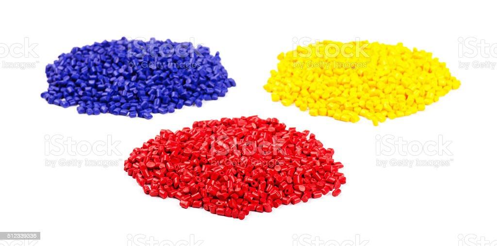 Colourful plastic granules stock photo