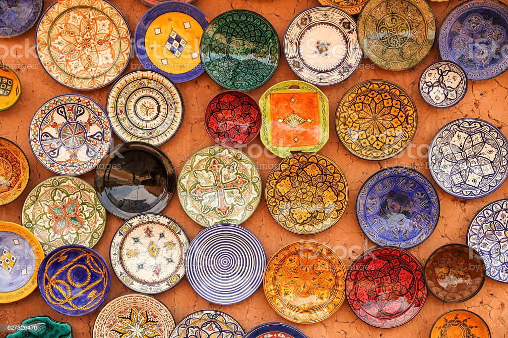 Colourful plates on sale stock photo