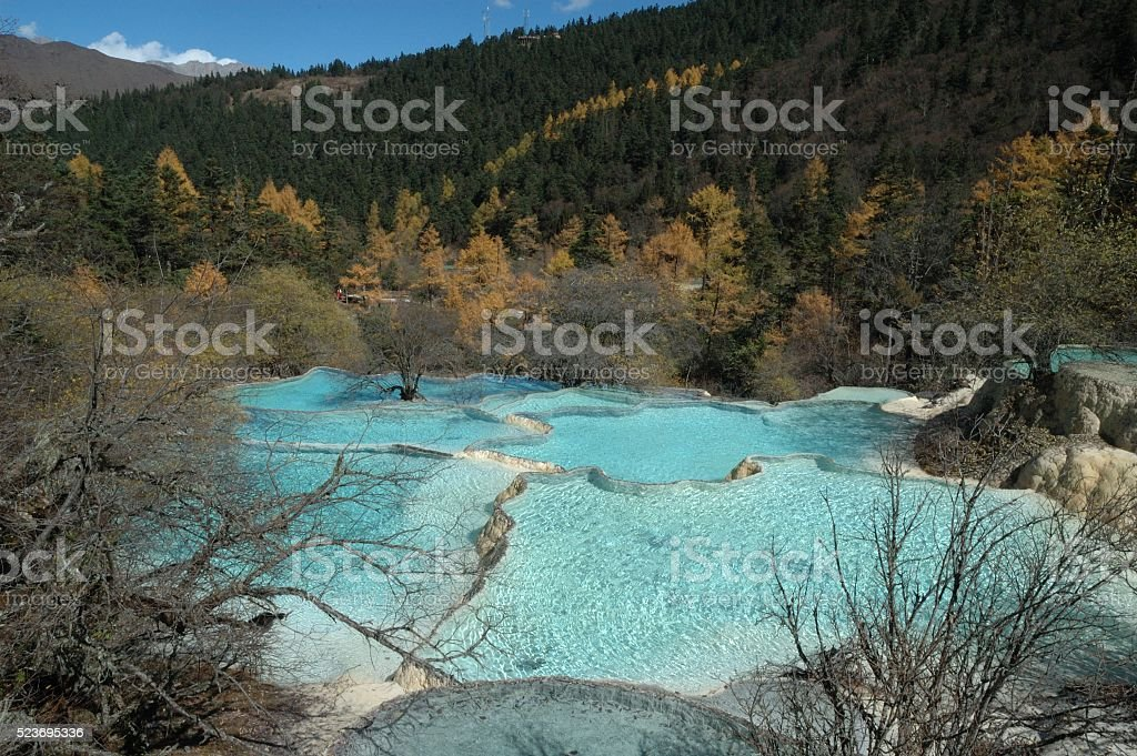 Colourful pools at Huanglong National Park in Sichuan stock photo