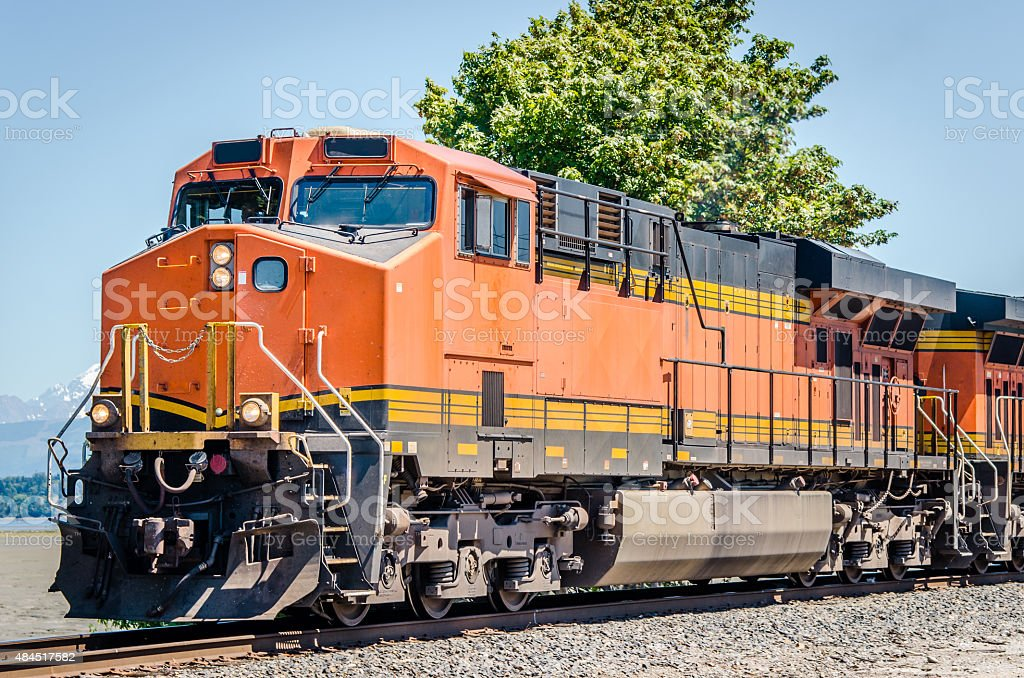 Colourful Powerful Locomotive and Clear Sky stock photo