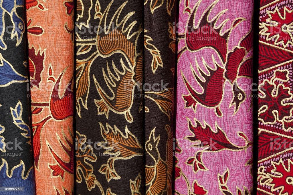 Colourful Printed Batik Textiles at Indonesian Textile Market stock photo