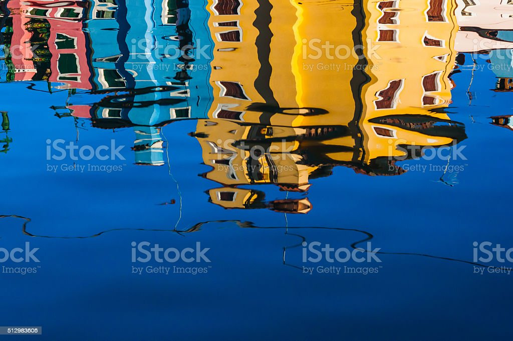 Colourful reflections as seen in the canals of Venice stock photo