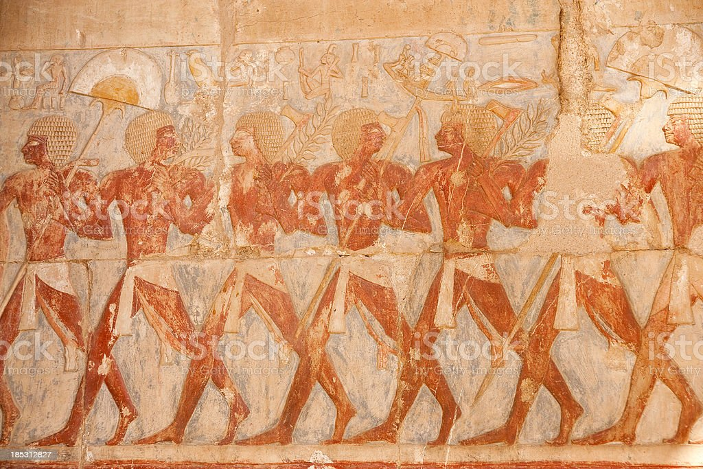 Colourful relief in the Temple of Hatchepsut royalty-free stock photo