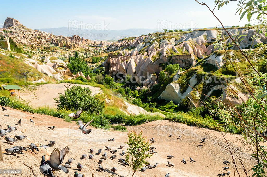 Colourful rock formations in Cappadocia stock photo