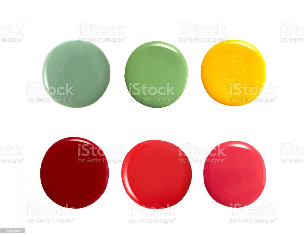 Colourful round shape nail varnish stock photo