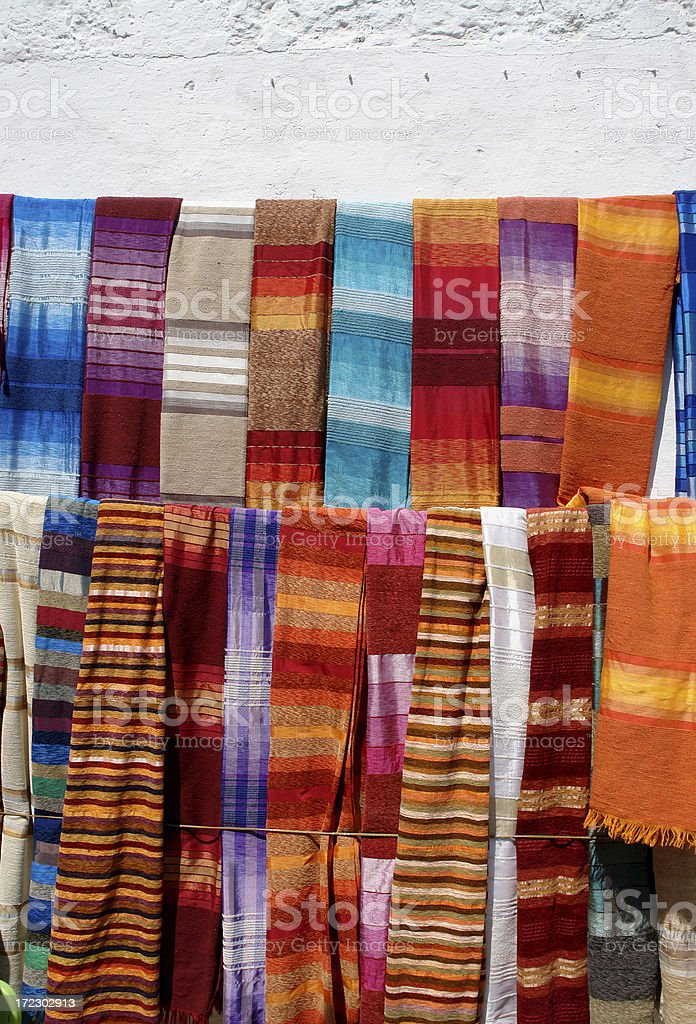 Colourful  Scarfs on the Market royalty-free stock photo