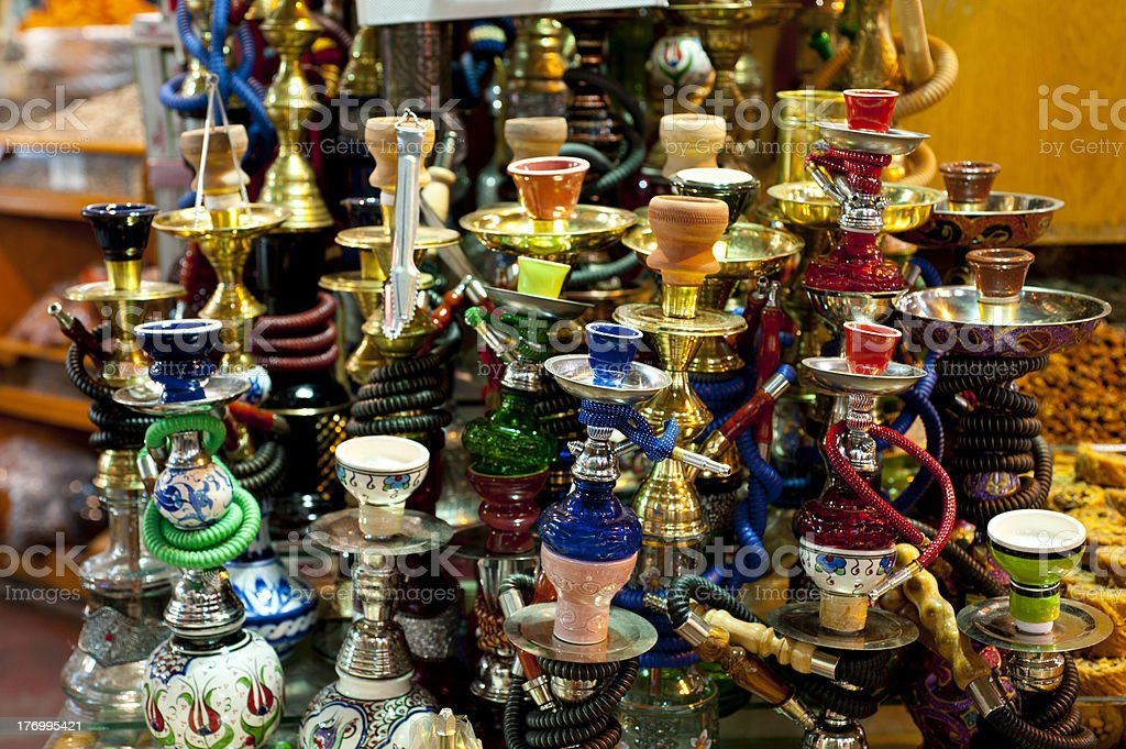 Colourful sheeshas on display at the Covered Bazara in Istanbul royalty-free stock photo