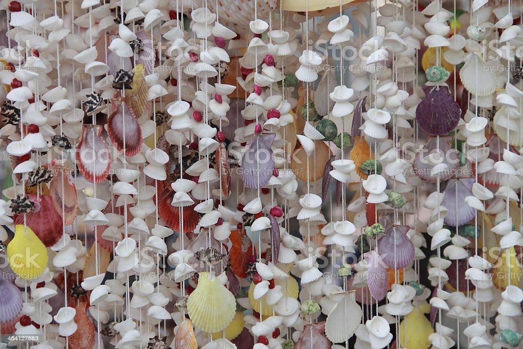 Colourful Shell Curtain stock photo