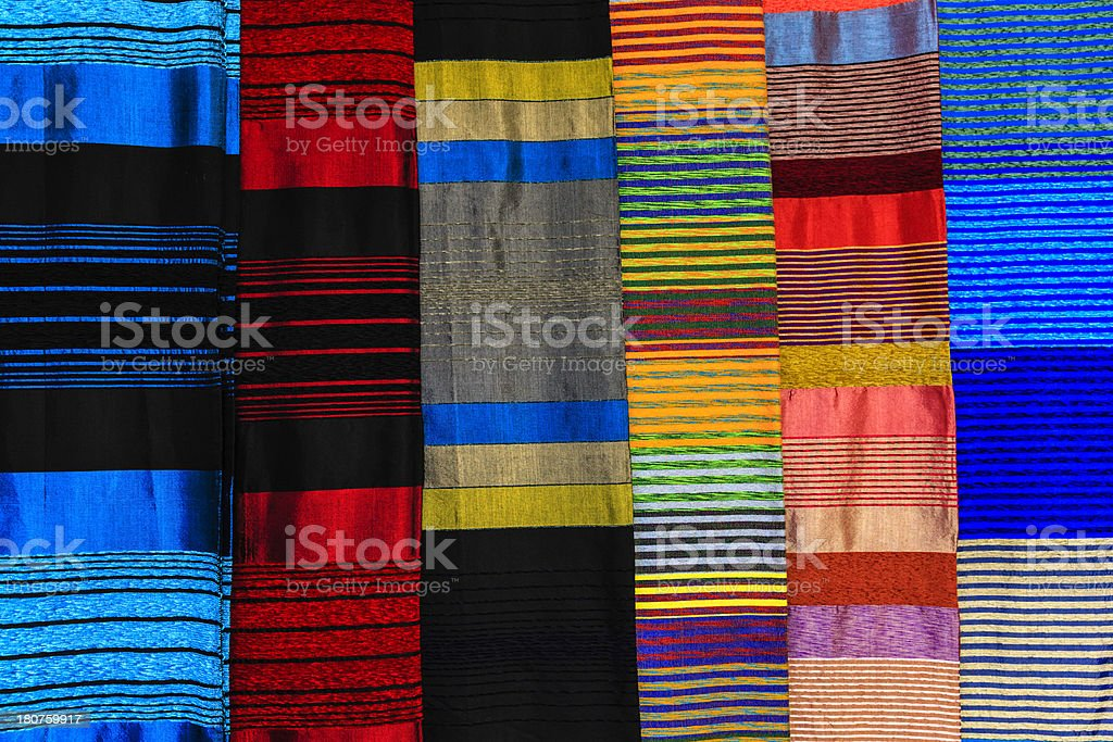 Colourful silk scarves royalty-free stock photo