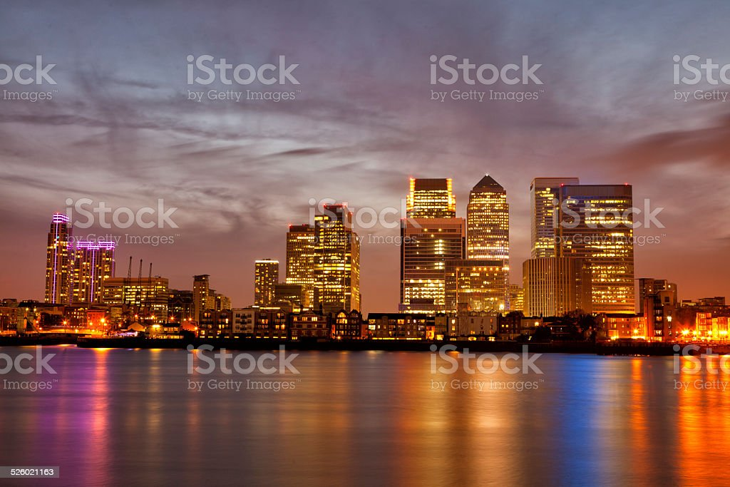 Colourful skyline of London Canary Wharf at sunset stock photo