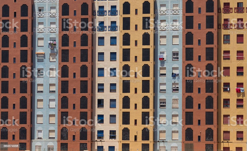 Colourful Social Housing tower block facade Murcia Spain stock photo