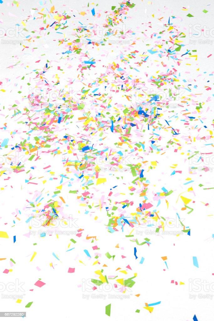 colourful sparlking confetti stock photo