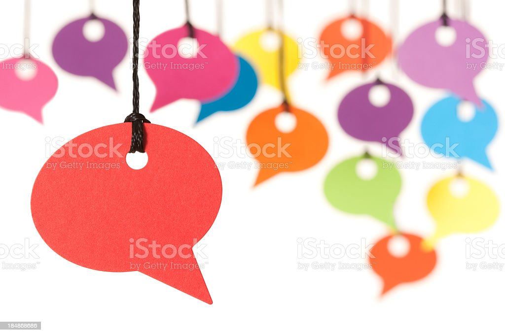 Colourful speech bubbles stock photo