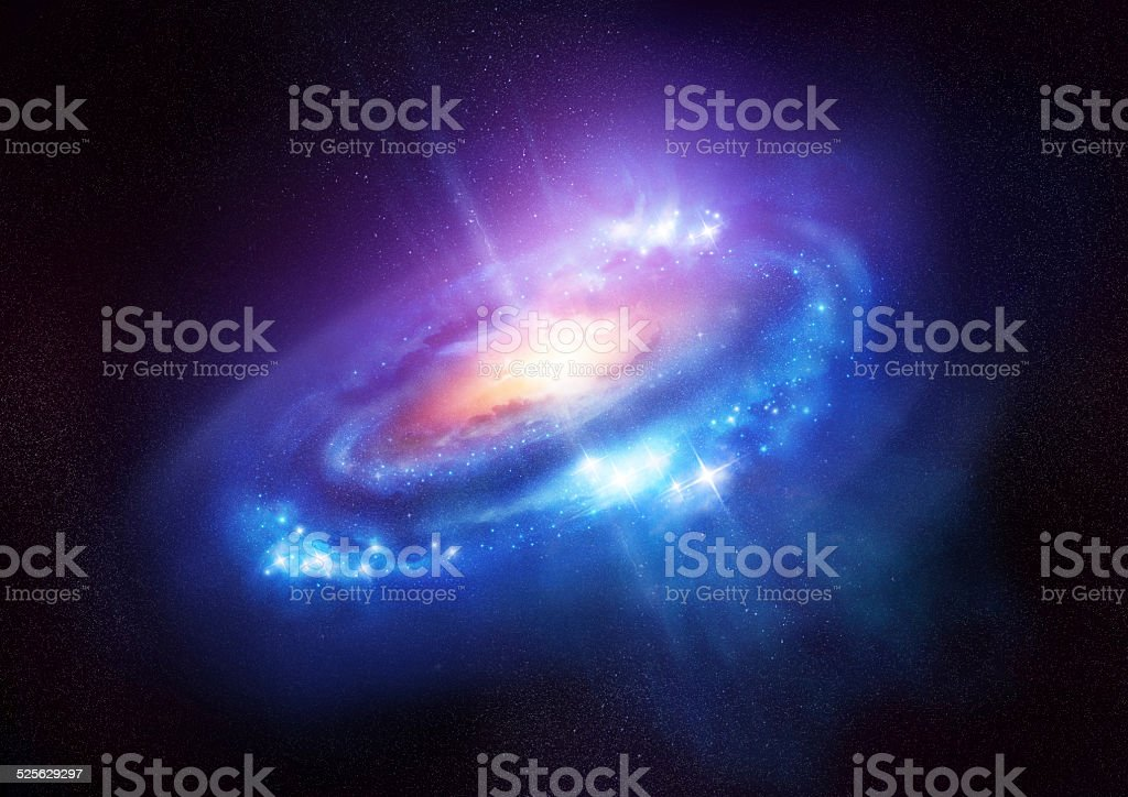Colourful Spiral Galaxy in Deep Space stock photo