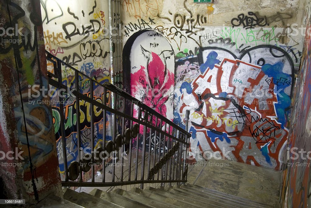 Colourful staircase stock photo