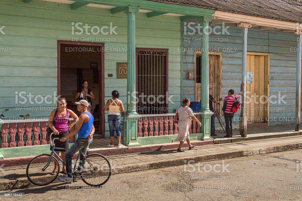 Colourful street in Baracoa, Cuba stock photo