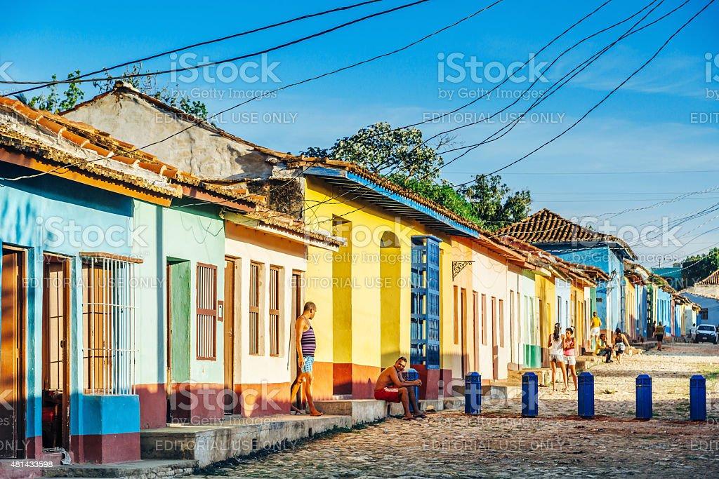 Colourful street in Trinidad, Cuba stock photo