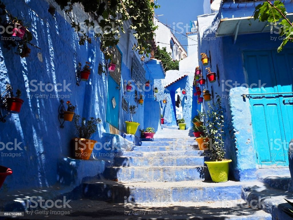 Colourful streets in Morocco stock photo