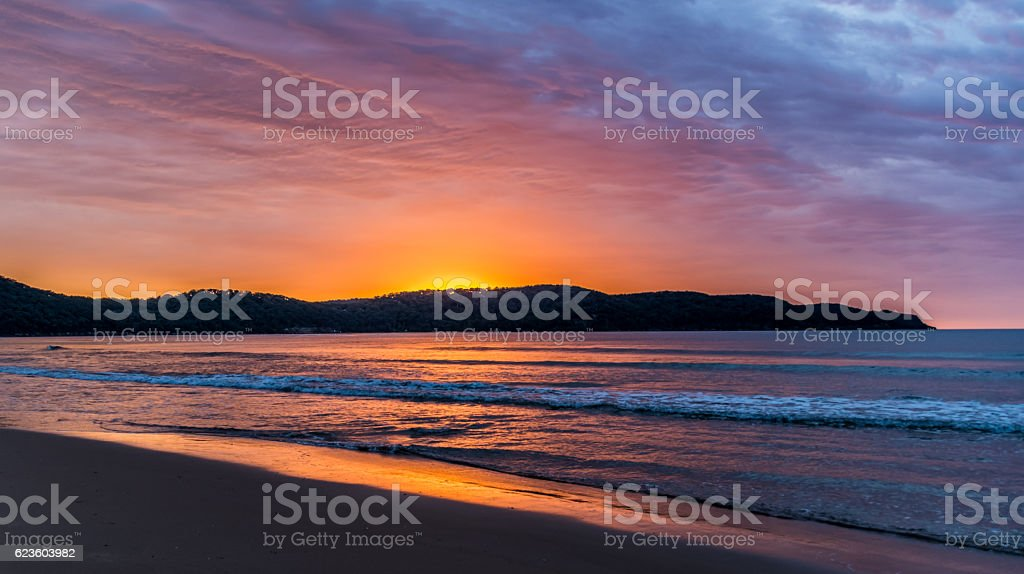 Colourful Sunrise at Ocean Beach stock photo